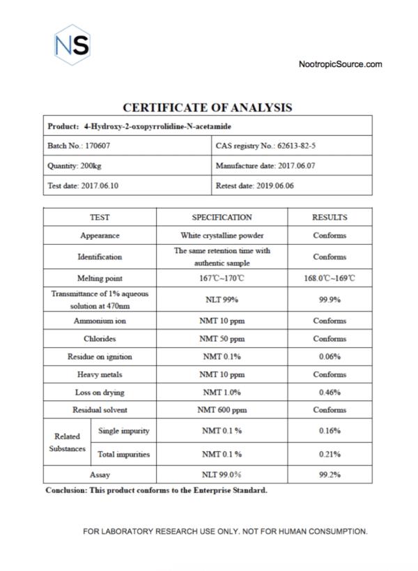 Oxiracetam COA